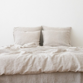 Natural Washed Bed Linen Bed Set Crushed