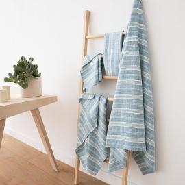 Linen Bath Towels Set Marine Blue Multistripe