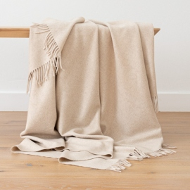 100% Cashmere Throw Everest Beige