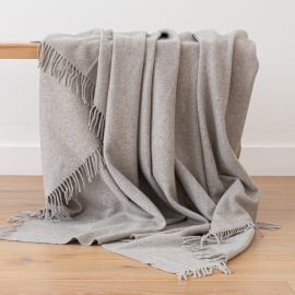 100% Cashmere Throw Everest Grey