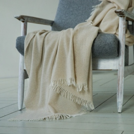 100% Cashmere Throw Eva Beige