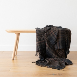 Black Square Linen Throw Paolo