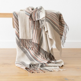 Natural Black Stripe Linen Throw Paolo