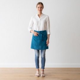 Cafe Apron Sea Blue Stone Washed Linen