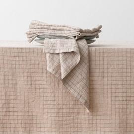 Washed Linen Napkin Natural Brick Check