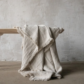 Natural Linen Throw Rustico Fringe