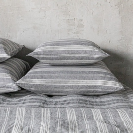 Graphite Washed Bed Linen Flat Sheet Stripe
