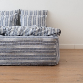 Indigo Washed Bed Linen Fitted Sheet Jazz