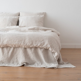 Natural Washed Bed Linen Duvet Ticking Stripe