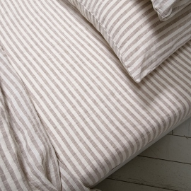 Natural Washed Bed Linen Fitted Sheet Ticking Stripe