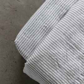 Graphite Washed Bed Linen Fitted Sheet Ticking Stripe