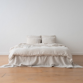Natural Washed Bed Linen Flat Sheet Ticking Stripe