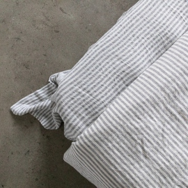 Graphite Washed Bed Linen Flat Sheet Ticking Stripe