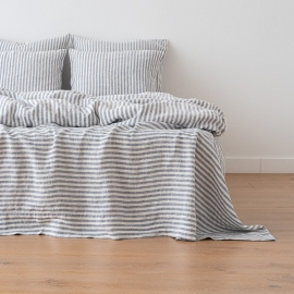 Indigo Washed Bed Linen Bed Set Ticking Stripe