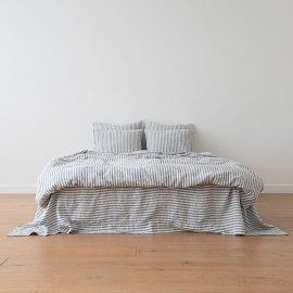 Indigo Washed Bed Linen Flat Sheet Ticking Stripe