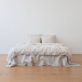 Natural Washed Bed Linen Duvet Pinstripe