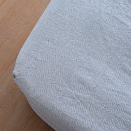 Indigo Washed Bed Linen Fitted Sheet Pinstripe
