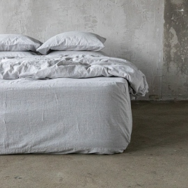 Graphite Washed Bed Linen Bed Set Pinstripe