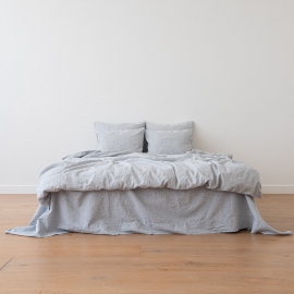 Indigo Washed Bed Linen Flat Sheet Pinstripe