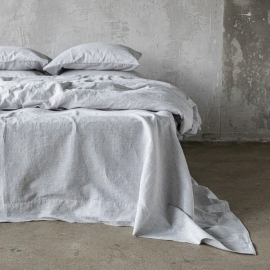 Graphite Washed Bed Linen Duvet Pinstripe