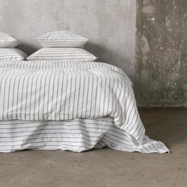 Graphite Washed Bed Linen Duvet Stripe