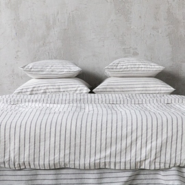 Graphite Washed Bed Linen Duvet Stripe
