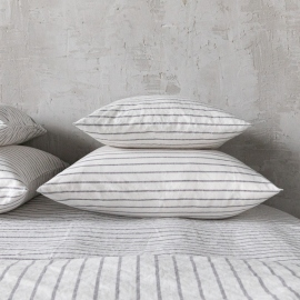 Graphite Washed Bed Linen Pillow Case Stripe