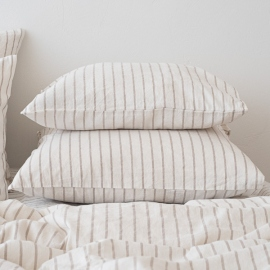Natural Washed Bed Linen Pillow Case Stripe