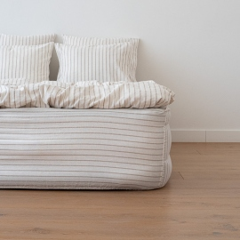 Natural Washed Bed Linen Fitted Sheet Stripe