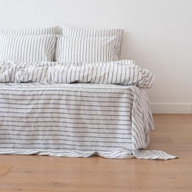 Indigo Washed Bed Linen Flat Sheet Stripe
