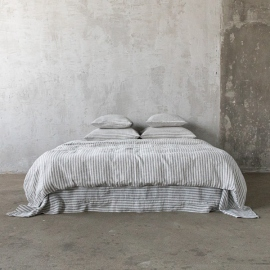 Graphite Washed Bed Linen Bed Set Ticking Stripe