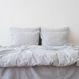 Indigo Washed Bed Linen Bed Set Pinstripe