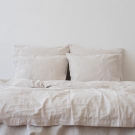 Natural Washed Bed Linen Bed Set Pinstripe