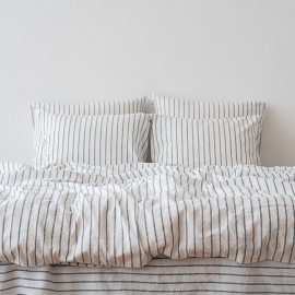 Indigo Washed Bed Linen Bed Set Stripe