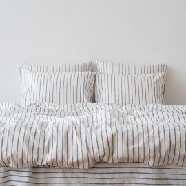 Indigo Washed Bed Linen Bed Set Stripe