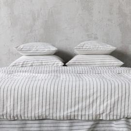 Graphite Washed Bed Linen Bed Set Stripe