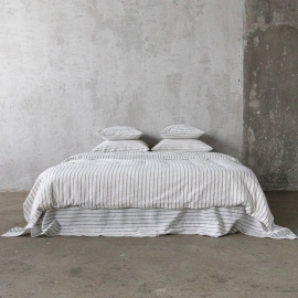 Graphite Washed Bed Linen Bed Set Stripe