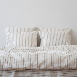 Natural Washed Bed Linen Bed Set Stripe