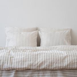 Natural Washed Bed Linen Bed Set Stripe