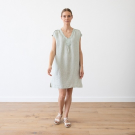Moss Green Melange Linen Dress Emily