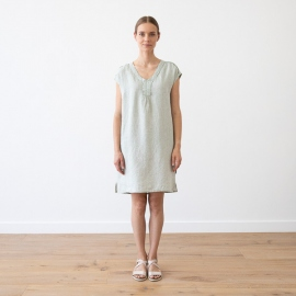 Blue Melange Linen Dress Emily