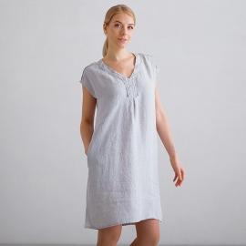 Blue Melange Linen Dress Emily