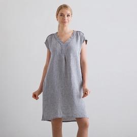 Silver Melange Linen Dress Emily