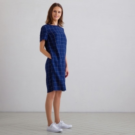 Navy Off White Window Pane Linen Dress Isabella