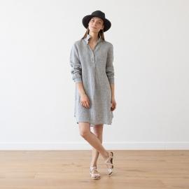 Graphite Melange Linen Tunic Camilla