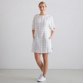 White Navy Check Linen Tunic Dress Bianca