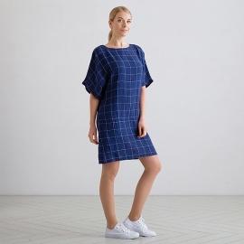 White Navy Check Linen Tunic Dress Bianca