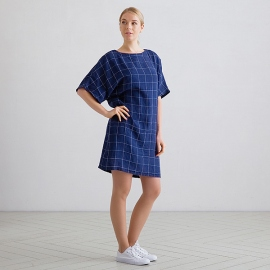 Navy White Window Pane Linen Tunic Dress Bianca