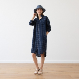 Navy Off White Window Pane Linen Shirt Dress Paula