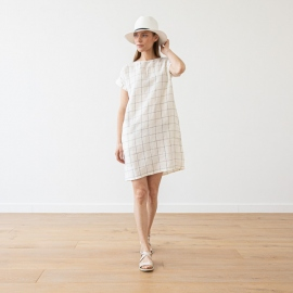 White Navy Window Pane Linen Dress Alice